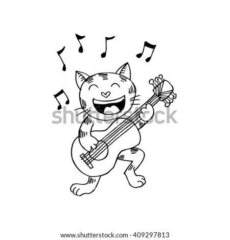 cat playing a guitar - stock vector