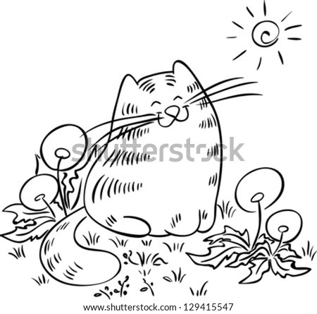 Cat sitting in the meadow with dandelions. Cat is squinting against the sun. Contour drawing. - stock vector