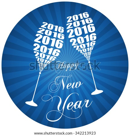 2016 Celebration Design - Stylish Wine Glass Toasting - stock vector