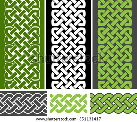 3 Celtic style knotted seamless borders and 3 braid seamless border variations, vector illustration (green, white, gray colors) - stock vector