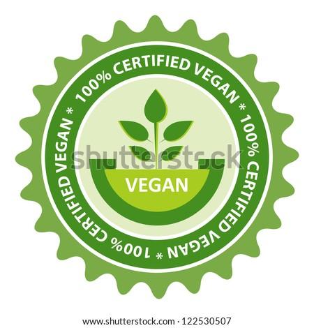 100% Certified Vegan food label. - stock vector