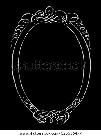 Chalk Board Oval Frame - stock vector