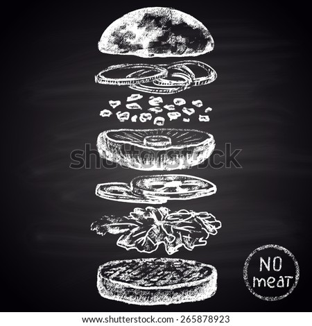 Chalk painted ingredients of vegetarian burger. - stock vector
