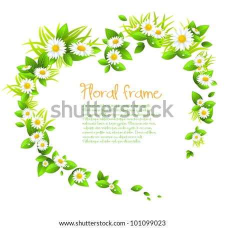 Chamomile flowers frame with space for text. - stock vector