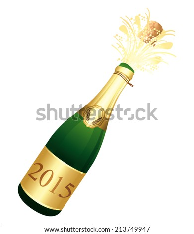 2015 Champagne bottle. Vector icon. - stock vector