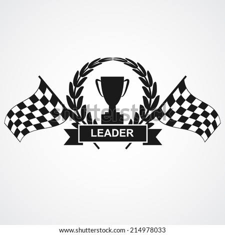 Champion cup and laurel wreath with ribbon, banner and finish flags. vector illustrations - stock vector