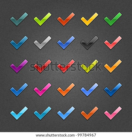 25 check mark glossy web button. Variation color for internet button on gray background with noise texture effect. Vector 10 eps. See more web design element template in my gallery - stock vector