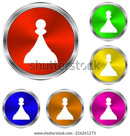 Chess Pawn icon - vector glossy colourful buttons - stock vector