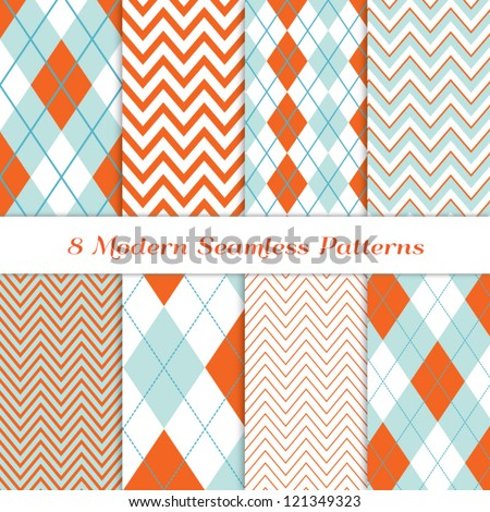 8 Chevron and Argyle Patterns in Aqua Blue, Turquoise, White & Coral Orange. For Scrapbook or Photo Collage. Modern Christmas Backgrounds. Matches my other pattern pack Image ID: 128027705 - stock vector