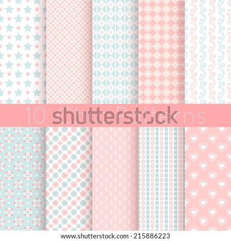 10 Chic different vector seamless patterns. Pink, white and blue color. Endless texture can be used for printing onto fabric and paper or scrap booking. - stock vector