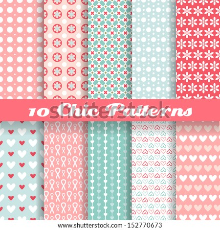 10 Chic different vector seamless patterns (tiling). Pink and blue color. Endless texture can be used for printing onto fabric and paper or scrap booking. Heart, flower and dot shape. - stock vector