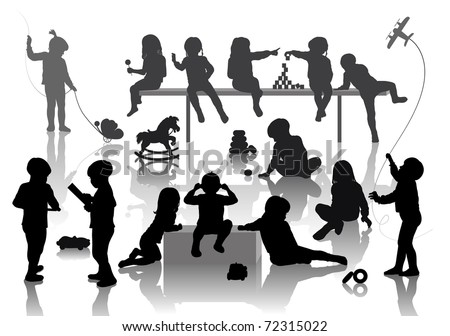 14 children playing with some deferent toys - stock vector