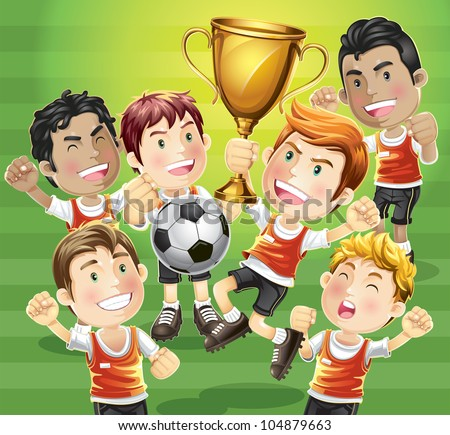 Children Soccer champion with winners trophy. cartoon character. - stock vector