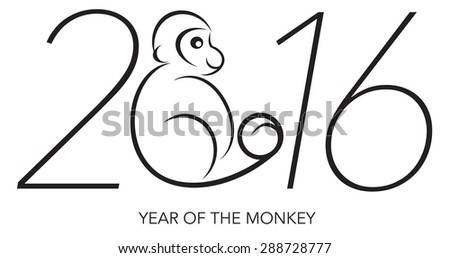 2016 Chines Lunar New Year of the Monkey Black and White Line Art with Text and Year Numerals Vector Illustration - stock vector