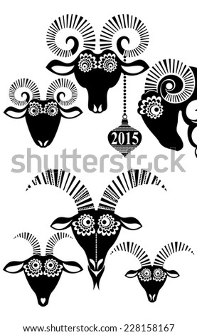 2015 Chinese New Year of the Goat and Sheep. Set of Sheep. Vector file organized in layers for easy editing - stock vector