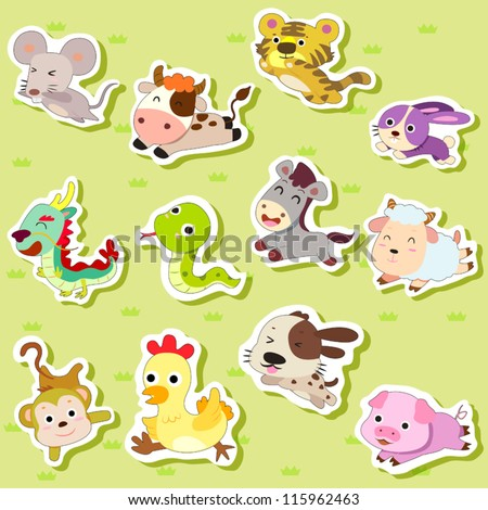 12 Chinese Zodiac animal stickers,cartoon vector illustration - stock vector