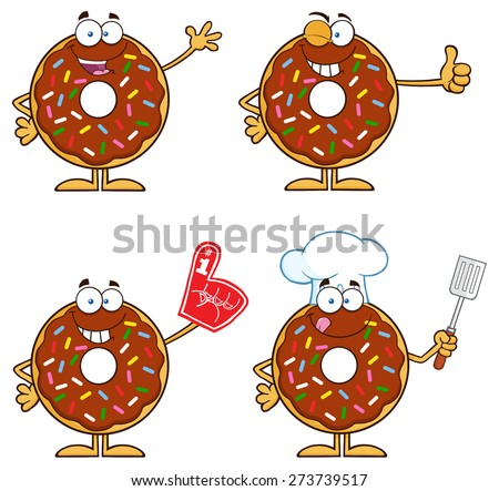 Chocolate Donut Cartoon Character With Sprinkles 5. Vector Collection Set Isolated On White - stock vector