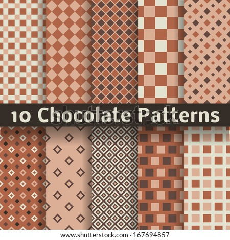 10 Chocolate vector seamless patterns (tiling). Monochrome brown color. Endless texture can be used for printing onto fabric and paper or scrap booking. Square shapes. Textures of chocolate bar. - stock vector