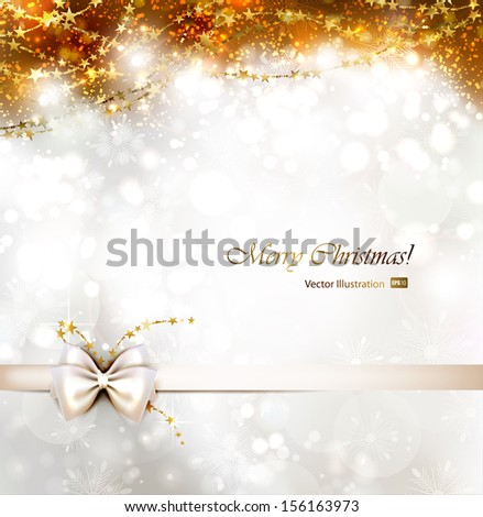 Christmas background with bow.  - stock vector