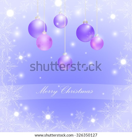 Christmas balls and snowflakes, glitter, vector - stock vector