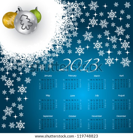 2013 Christmas calendar design with cool decorations - stock vector