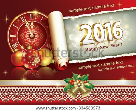 2016 Christmas card with clock, balls and bells - stock vector
