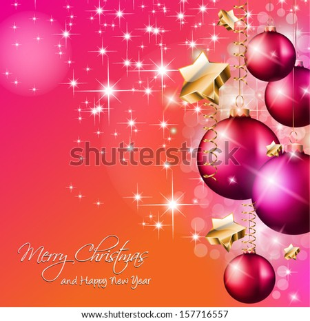 2014 Christmas Colorful Background with a waterfall of ray lights and a lot of baubles and stars. - stock vector