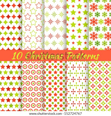 10 Christmas different vector seamless patterns (tiling). Holiday background. Endless texture can be used for wallpaper, pattern fills, web page, surface textures. Set of New Year color ornaments. - stock vector