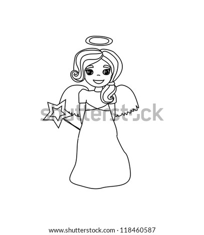 Christmas doodle angel - stock vector