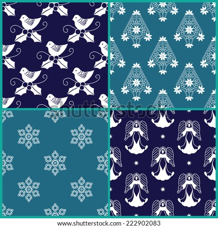 4 Christmas gift wrapping paper designs  - stock vector
