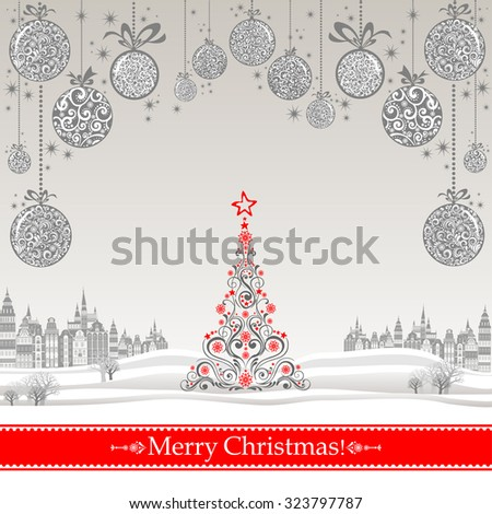 Christmas greeting card. Celebration background with Christmas Landscape, Christmas balls and place for your text. Vector Illustration - stock vector