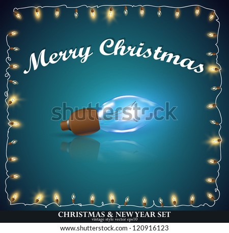 Christmas greeting Card with frame garland. christmas garland - stock vector