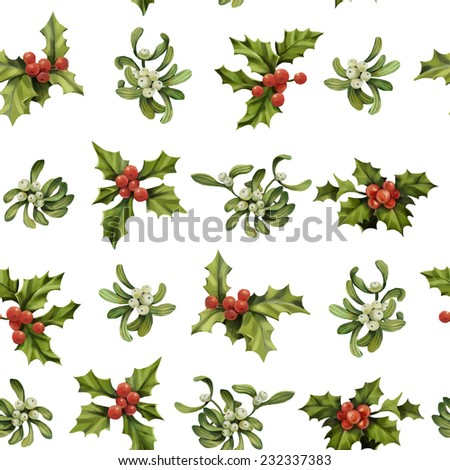 Christmas holly twigs and mistletoe seamless pattern. Decorative vector illustration. - stock vector