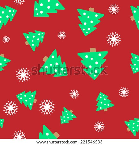 Christmas seamless background. Background of fir trees and snowflakes. Seamless pattern can be used for wallpaper, pattern fills, web page background, surface textures. - stock vector