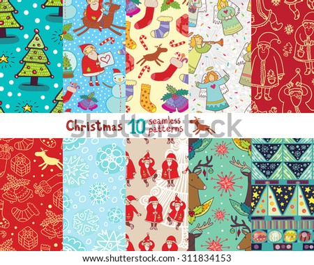 10 Christmas seamless pattern set. - stock vector