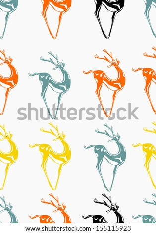 Christmas seamless pattern with deer. Vector illustration - stock vector