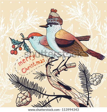 Christmas vector illustration of a couple of winter birds sitting on fir branches - stock vector