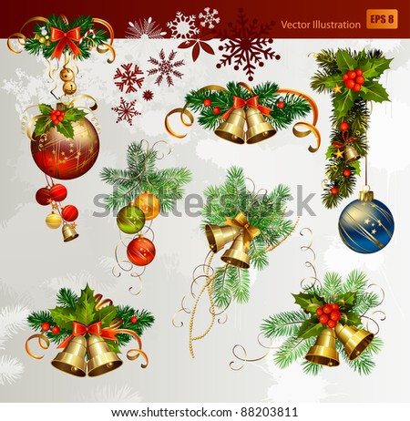 Christmas vector set of fir tree and evening balls, new year's  bells and festive bells - stock vector