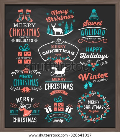 Christmas vintage design elements, logos, badges, labels, icons, decoration and objects set. - stock vector