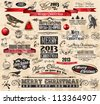 2013 Christmas Vintage typograph design elements: vintage labels. ribbons, stickers, baubles and gift boxes, birds, liquid drops, swirls and so on. - stock vector