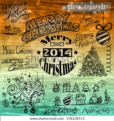 2014 Christmas Vintage typograph design elements: vintage labels. ribbons, stickers, baubles and gift boxes, birds, liquid drops, swirls and a fantastic grunge background - stock vector