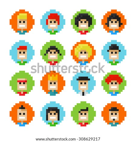 16 Circles Pixel Male And Female Faces Avatars. Vector Illustration. 8 Bit Graphic Style - stock vector