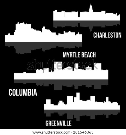 4 City in South Carolina ( Columbia, Charleston, Greenville, Myrtle Beach) - stock vector