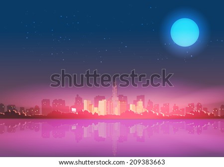 City Skyline at Night with Reflections Background - Vector Illustration - stock vector