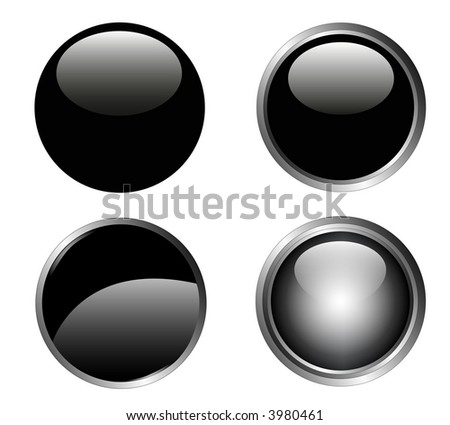 4 Classy Black Web Buttons with silver metallic edging - stock vector