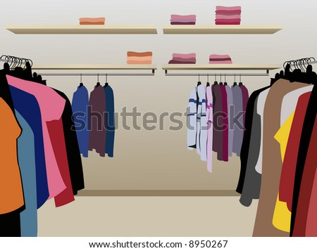 clothes in shop vector - stock vector