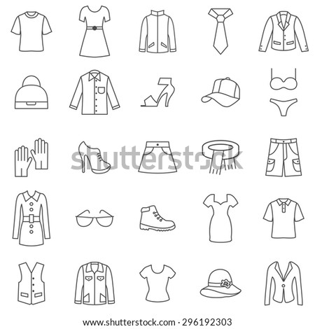 Clothes line icons set.Vector - stock vector