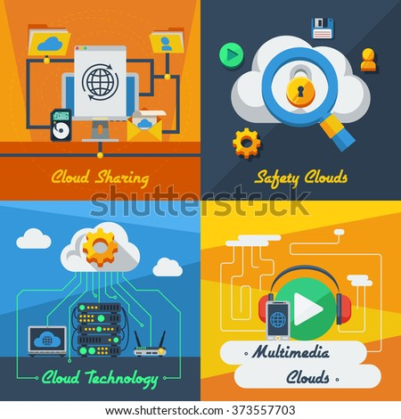 Cloud service 2x2 flat design concept set of technology sharing safety and multimedia resources vector illustration - stock vector