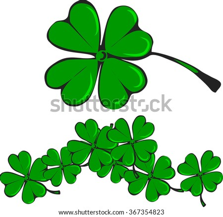 Clover leaf, isolated and a bunch of leaves, vector image - stock vector