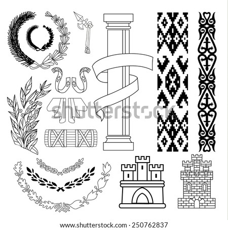 Coat of arms elements set, vector illustration. - stock vector